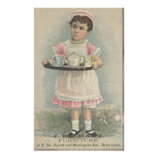 J.H. Crane Furniture Young Girl with Serving Tray Photo Art