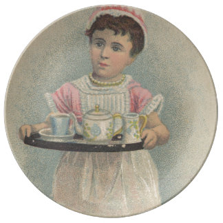 J.H. Crane Furniture Young Girl with Serving Tray Plate