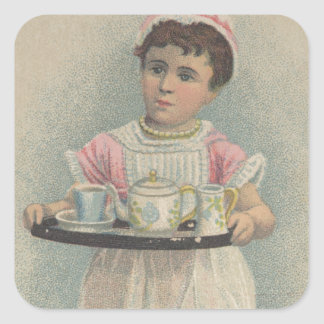 J.H. Crane Furniture Young Girl with Serving Tray Square Sticker