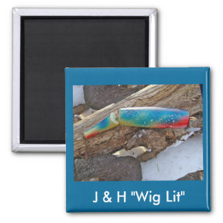 "J & H ""WIG LIT"" Vintage Saltwater Lure Items 2 Inch Square Magnet"