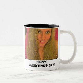 J, HAPPY VALENTINE'S DAY! Two-Tone COFFEE MUG