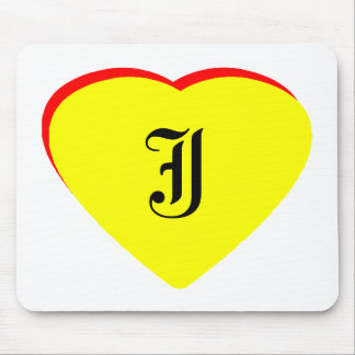 """J"" Heart Yellow Red Wedding Invitation The MUSEUM Mouse Pad"