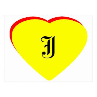 """J"" Heart Yellow Red Wedding Invitation The MUSEUM Postcard"