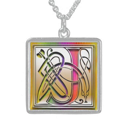 "J Initial Monogram ""Celtic Rainbow"" Necklace Personalized Necklace"