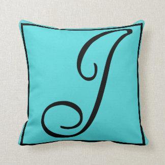 J INITIAL PILLOW - Letter J on Aqua Background