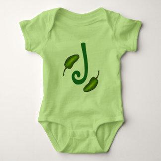 J is for Jalapeno Green Pepper Monogram Initial Baby Bodysuit