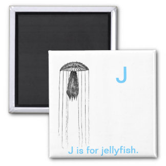 J is for Jelly fish. 2 Inch Square Magnet