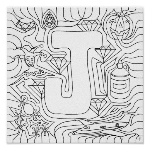 J Is For Jewels Color In Letter Posters