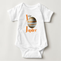 J is for Jupiter Cute Planet & Astronomy Design Baby Bodysuit