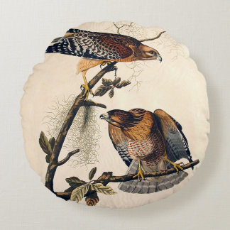 J.J. Audubon (Red Shouldered Hawk) (1829) Round Pillow