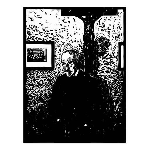 J.-K. Huysmans Woodcut Postcard