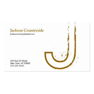 J Letter Alphabet Business Card Brown