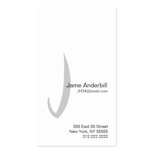 J Letter Alphabet Business Card Grey