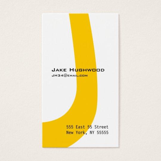 J Letter Alphabet Business Card Orange
