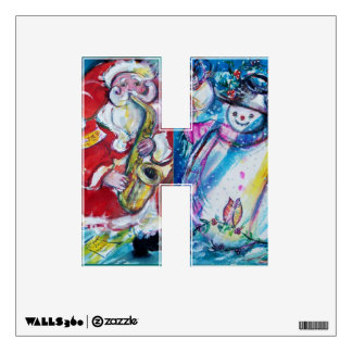 J LETTER /SNOWMAN ,SANTA AND SAX, CHRISTMAS PARTY ROOM DECAL