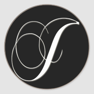 J monogram - elegant black and white classic round sticker