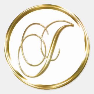J Monogram Faux Gold Envelope Or Favor Seal Classic Round Sticker