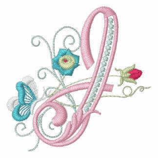 J monogram floral butterfly embroidery ladies tee