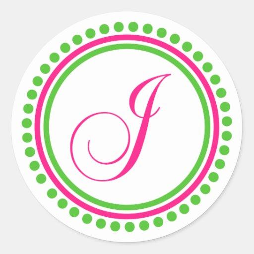 J Monogram (Hot Pink / Green Dot Circle) Classic Round Sticker