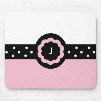 J :: Monogram J Dotted Pink & White Mousepad mousepad