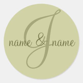 """J"" monogram label - personalize name Classic Round Sticker"