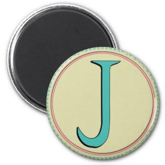 J MONOGRAM LETTER FRIDGE MAGNET