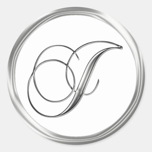 J Monogram Letter Sliver On White Wedding Seal Sticker