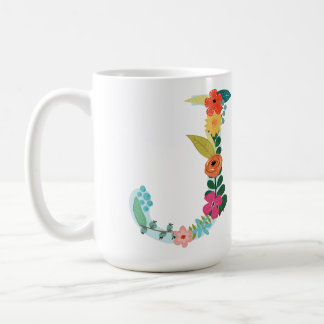 J Monogram Mug, Floral J Initial, Botanical Coffee Mug