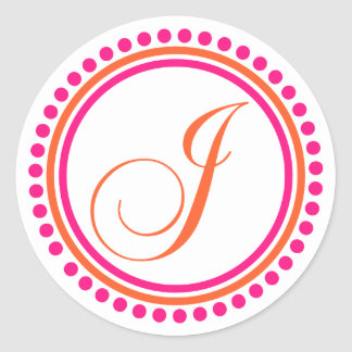 J Monogram (Pink / Orange Dot Circle) Classic Round Sticker