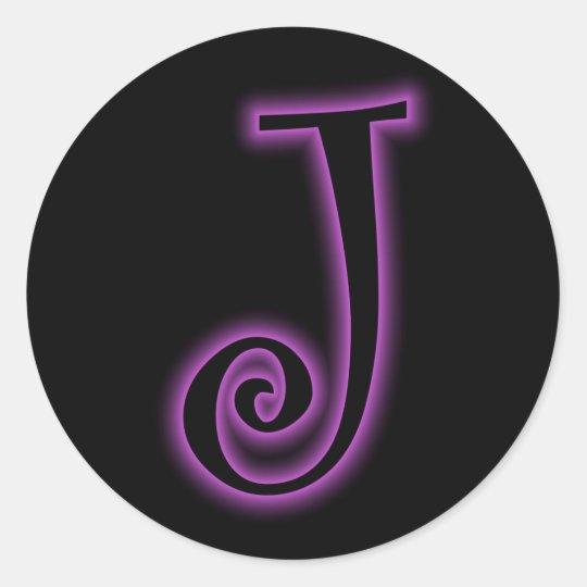 J Monogram Purple Neon Classic Round Sticker