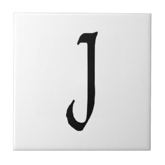 """J"" monogram, Quill text Tile"