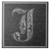 "J Monogram ""Royal Grey Stone"" Ceramic Tile"