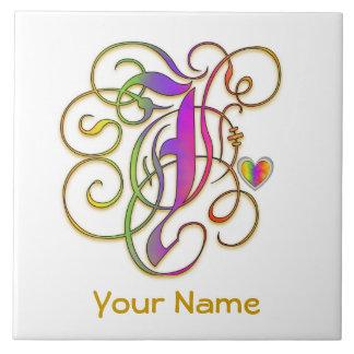 "J Monogram Your Name ""Gothic Rainbow"" Ceramic Tile"