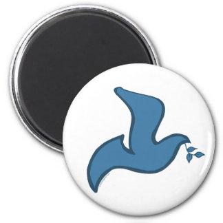 J - Paloma azul de la silueta de la paz Imán Redondo 5 Cm