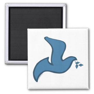 J - Paloma azul de la silueta de la paz Imán Cuadrado