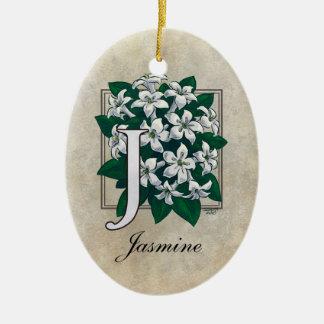 J para el monograma de la flor del jazmín adorno