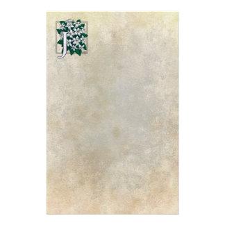J para el monograma de la flor del jazmín papelería personalizada