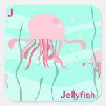 J para el pegatina de las medusas