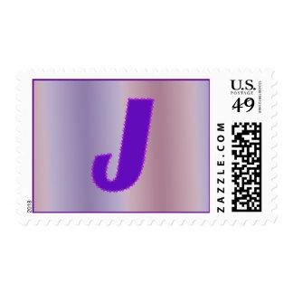 J purple monogram postage
