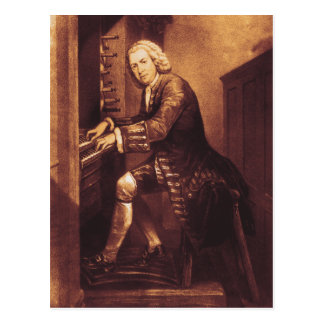 J.S. Bach at the organ postcard