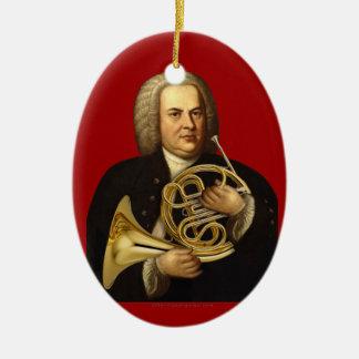 J.S. Bach con el cuerno Adorno Navideño Ovalado De Cerámica