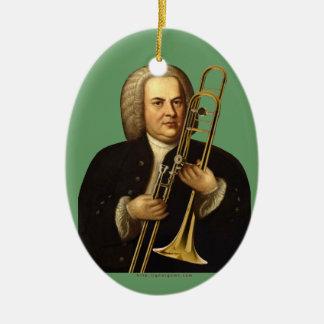 J.S. Bach con el Trombone Adorno Navideño Ovalado De Cerámica
