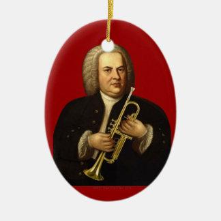 J.S. Bach con la trompeta Adorno Navideño Ovalado De Cerámica