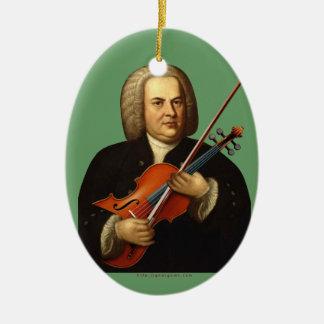 J.S. Bach con una viola Adorno Navideño Ovalado De Cerámica
