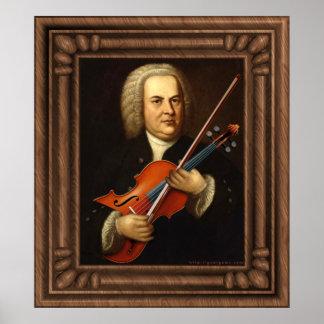 J.S. Bach con una viola Poster