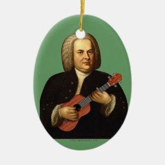 J.S. Bach en Uke Adorno Navideño Ovalado De Cerámica