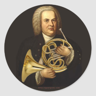 J.S. Bach with Horn Classic Round Sticker