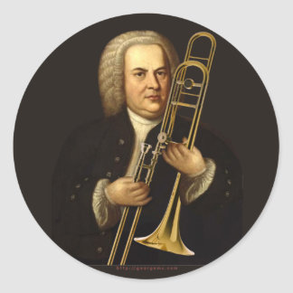 J.S. Bach with Trombone Classic Round Sticker