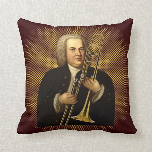 J.S. Bach with Trombone Throw Pillows