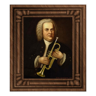 J.S. Bach with Trumpet Poster